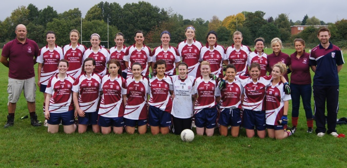 Tom O'Connor Cup Final - October 2013 Back Row - Pat Walsh(Manager), April Cremins, Ciara Moriarty, Aoife Burke, Marian Meehan, Helen Taggart, Kate Doyle, Michelle Farrell, Ellana Hackett, Maelíosa Hardy, Louise Hodnett, Marian O'Toole(Vice-Captain), Miriam Dyar, James Thompson(Selector) Front Row - Ann Griffin, Bronagh Coleman, Ellen Beary, Eilís Moran, Melissa McCann(Captain), Aisling Considine, Laura Fitzpatrick, Niamh O'Brien, Layla Clowes, Chloe White.
