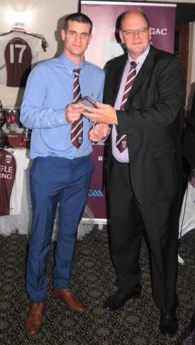 Gary McGwyne receives the 'Joe Deacy Player of the Year' Award.